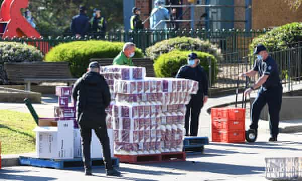 Toilet paper is distributed to residents of the Flemington block