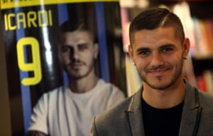 Mauro Icardi poses for a photo in Milan last week during an event to mark his book release.