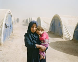 Thana Abdulah, 42, travelled with her mother-in-law and children to Tinah camp from her village of Iman Gabi.