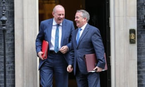 Liam Fox, the international trade secretary and president of the board of trade with Damian Green, work and pensions secretary, at No 10 on 21 March 2017.