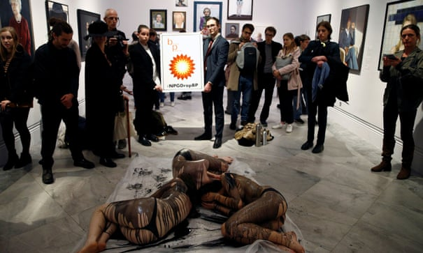 Semi-naked activists protest against National Portrait Gallery's links with BP | National Portrait Gallery | The Guardian