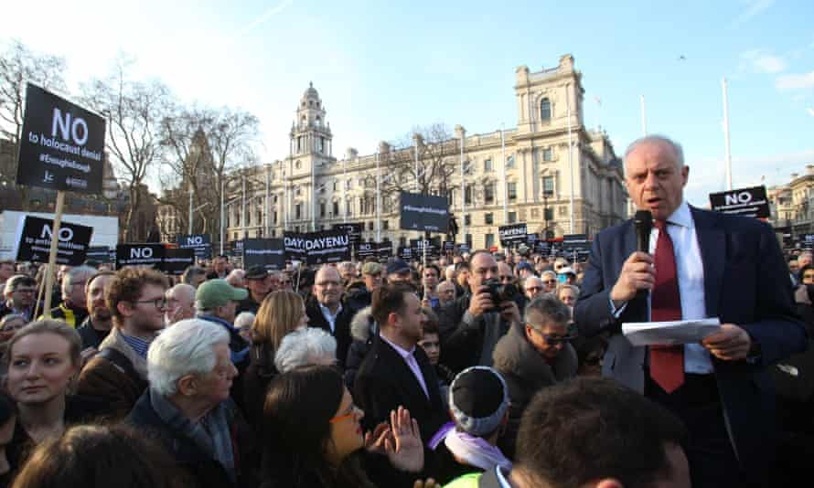 Jonathan Arkush, president, Board of Deputies of British Jews, speaks, during a protest against antisemitism in the Labour party in Parliament Square.
