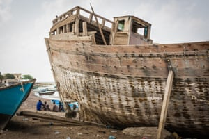 The fishing village of Obock, a hub for Ethiopian migrants crossing to war-torn Yemen. These refugees are Yemenis, fleeing in the other direction