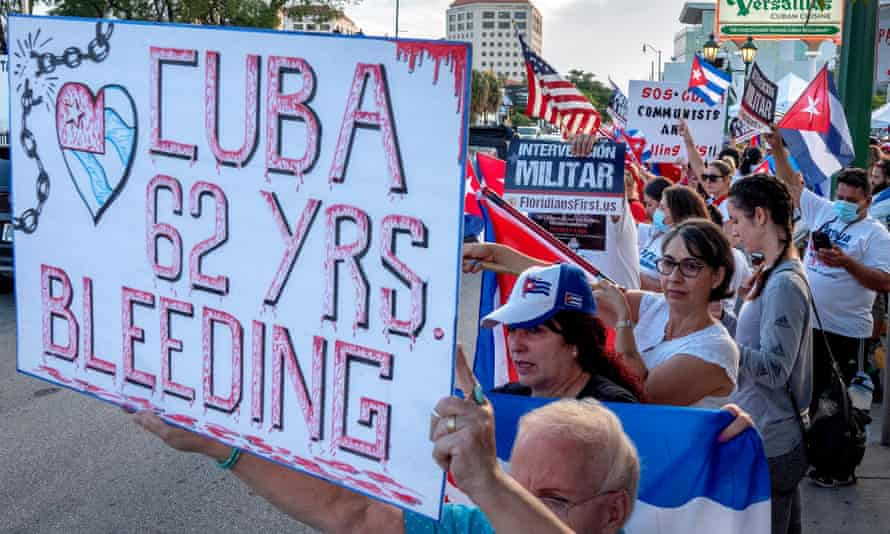 Cuban Americans participate in a demonstration to show support for protesters in Cuba, in front of the Versailles restaurant in Miami on Wednesday.