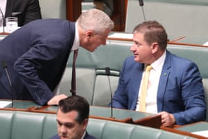 Deputy PM Michael McCormack talks to deputy speaker Llew O'Brien before during question time.