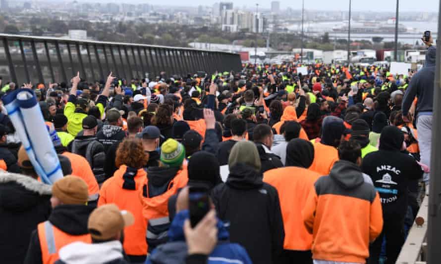Protesters block the West Gate Bridge in Melbourne