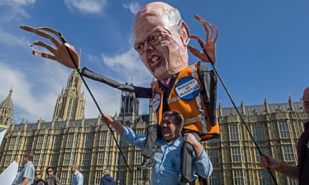 Effigy of Chris Grayling at protest rally outside parliament