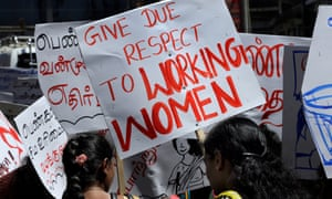 Female workers stage a labour rights protest in Hatton, a town in Sri Lanka's Central province