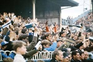 Spurs fans cheer at White Hart Lane during their 5-1 demolition of Manchester United in October 1965.