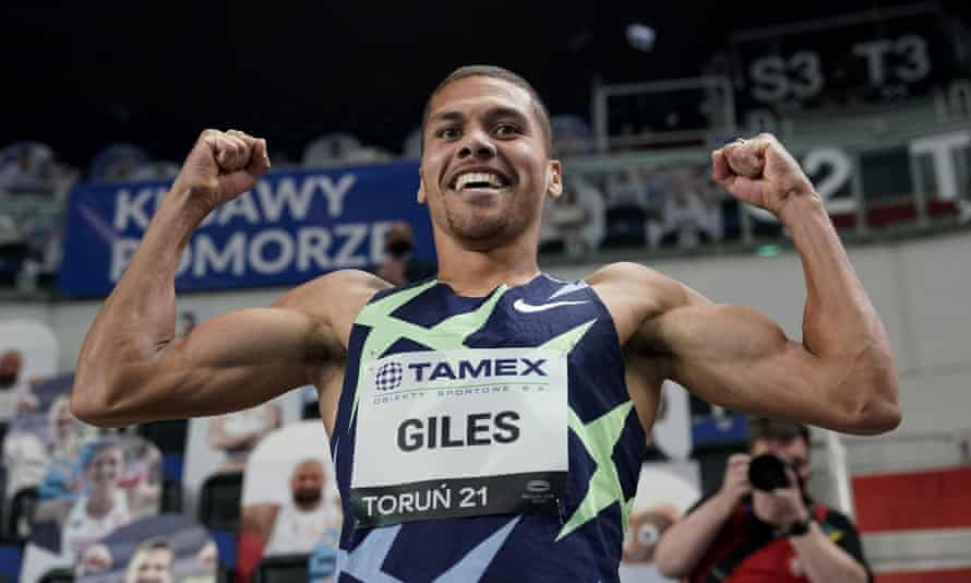 Britain's Elliot Giles celebrates after winning the men's 800m in Torun, Poland on Wednesday.
