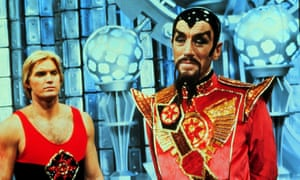 Max von Sydow as The Emperor Ming and Sam J Jones as Flash in Flash Gordon, 1980