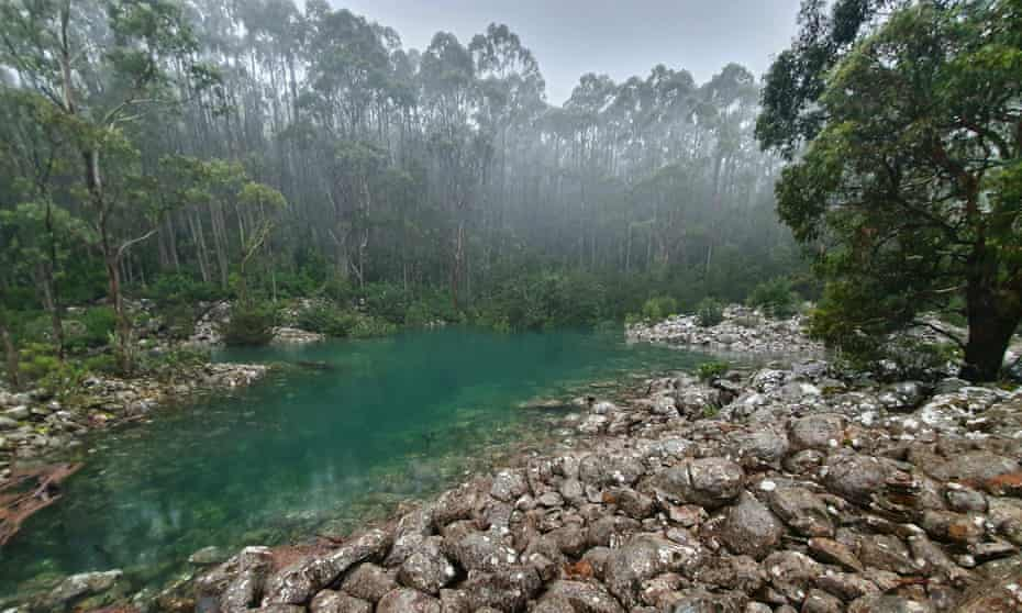 The crystal clear waters of the The Disappearing Tarn located at kunanyi/ Mount Wellington.