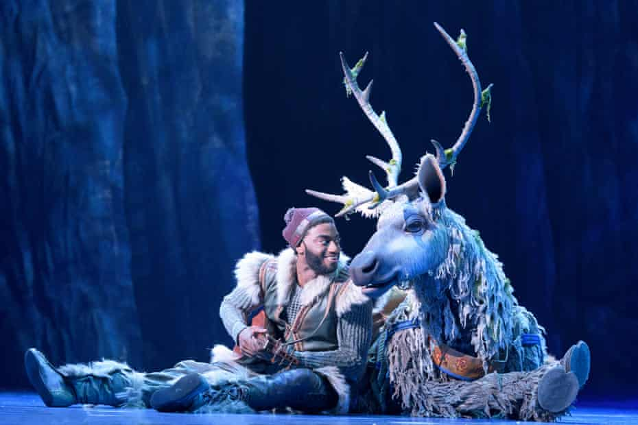 Jelani Alladin as Kristoff with Andrew Pirozzi as Sven in the Broadway musical version of Frozen.
