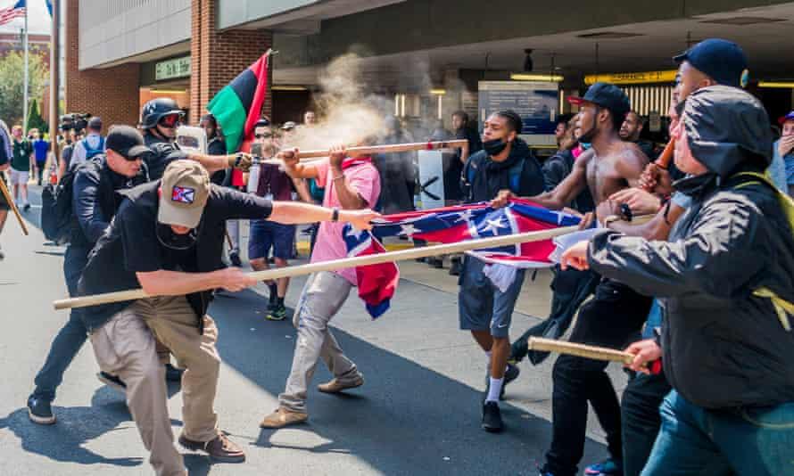 Far-right protesters clash with anti-fascist demonstrators in Charlottesville.