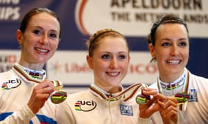 Wendy Houvenaghel, left, won team pursuit gold with Laura Trott and Danielle King at the 2011 world championships