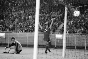 … the ball flies past Real Madrid keeper Agustín Rodríguez and into the net
