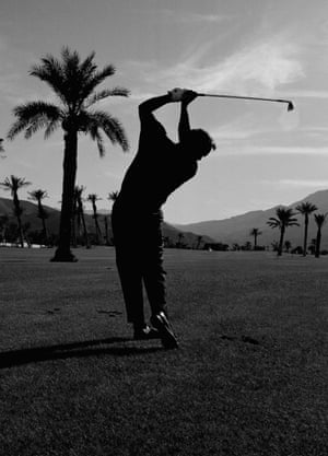 27 February 1967. Palmer practises at the Canyon hotel and country club in Palm Springs, California, for a TV special on golf tips. The program was filmed on the California resort course.