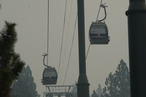 The Heavenly Village gondola, which ferries summer passengers to the summit of the Heavenly Mountain ski area, was closed until winter due to the wildfire risk.