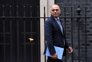 Sajid Javid leaves 11 Downing Street to deliver a spending review at the Houses of Parliament, 4 September