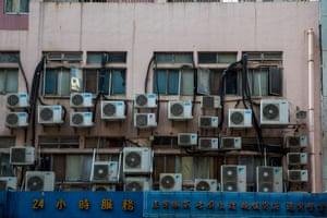 Wall-mounted air conditioning units in Hong Kong.