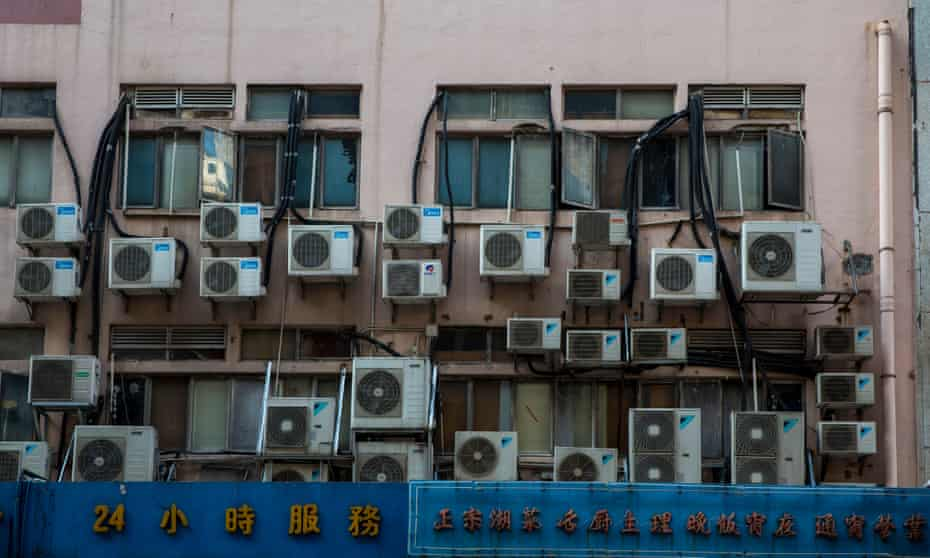 Air conditioning units attached to a building in Hong Kong