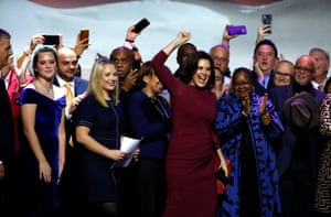 Democratic gubernatorial candidate Gretchen Whitmer reacts after declaring victory at her midterm election night party in Detroit, Michigan, U.S.