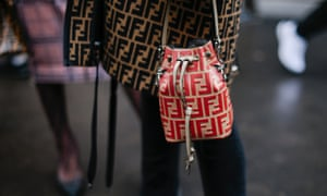 A Fendi bag emblazoned with their abstracted logo.