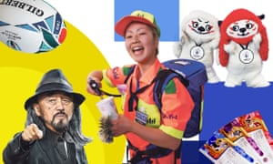 (Left to right) Sirius, the official World Cup match ball; Japanese fashion designer Yohji Yamamoto; vendor Mariko Toko dispenses beer; Ren-G: the Rugby World Cup mascots; tournament tickets.