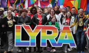 Sara Canning (front centre), partner of Lyra McKee, at the Love Equality march in Belfast.