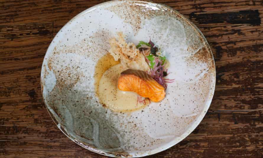 'Seared on the brazier until bubbling': grilled trout with miso sauce.