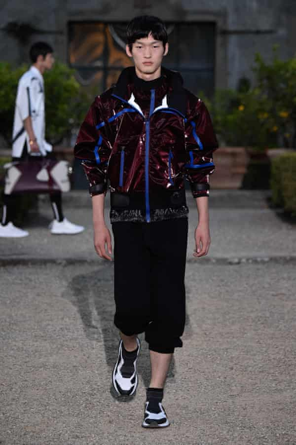 A model walks the runway at the Givenchy fashion show