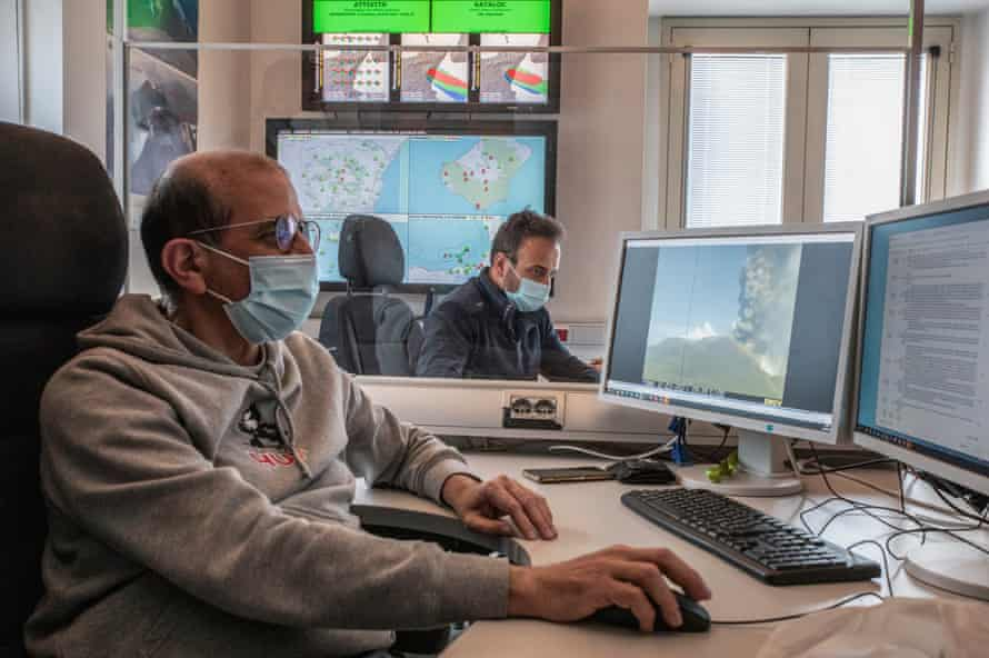 The operations room at the the National Institute of Geophysics and Volcanology of Catania.
