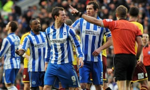 Brighton's Ashley Barnes is sent off by referee Craig Pawson, reducing the Seagulls to nine men in the 12th minute of their 2011 Championship game against Burnley.