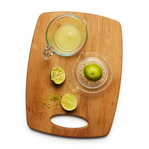Felicity Cloakes' perfect key lime pie 02: Finely grate the zest of four limes into a large bowl.
