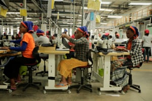 Workers sew clothes inside the Indochine Apparel PLC textile factory in Hawassa Industrial Park in Ethiopia