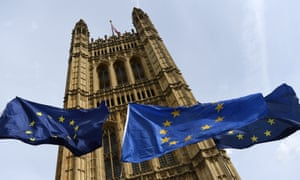 EU flags fly outside parliament in Westminster
