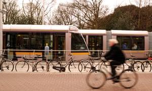 Luas trams, St Stephen's Green, Dublin.
