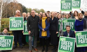 The Green party deliver their manifesto in London. front trio left to right: co-leader, Jonathan Bartley, deputy leader Amelia Womack and co-leader, Sian Berry.