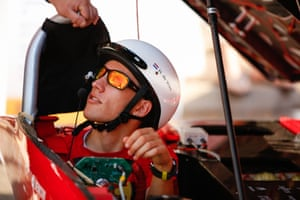 Solar Team Twente's driver Hidde De Vries of The Netherlands in RED E at the starting line in Darwin