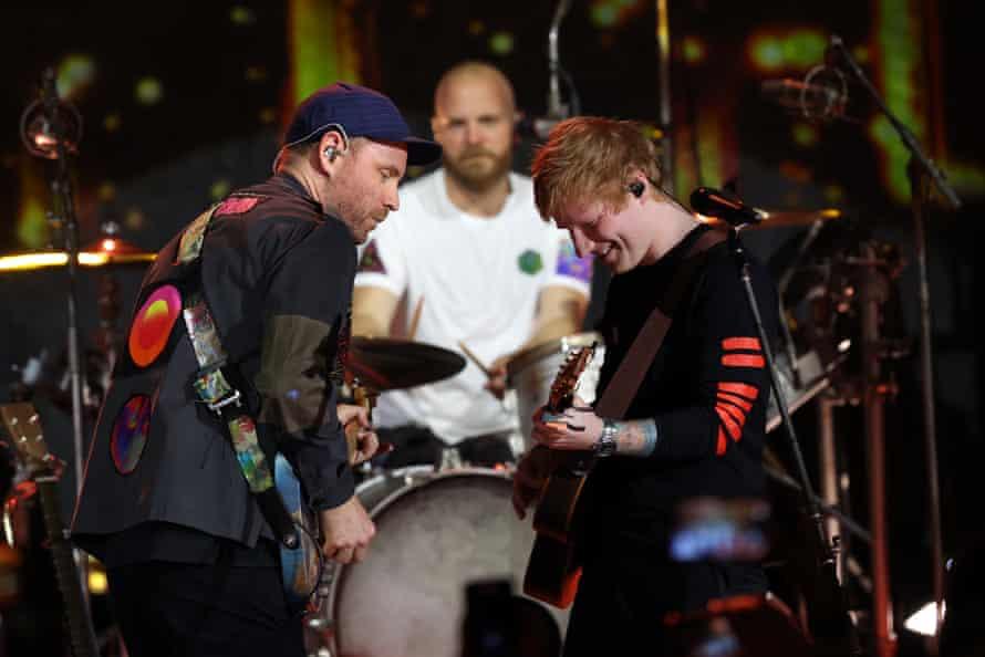 Jonny Buckland of Coldplay and Ed Sheeran.