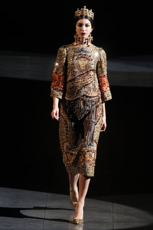 A model on the Dolce & Gabbana AW13 catwalk.