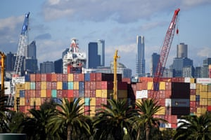 Containers stacked up in Melbourne