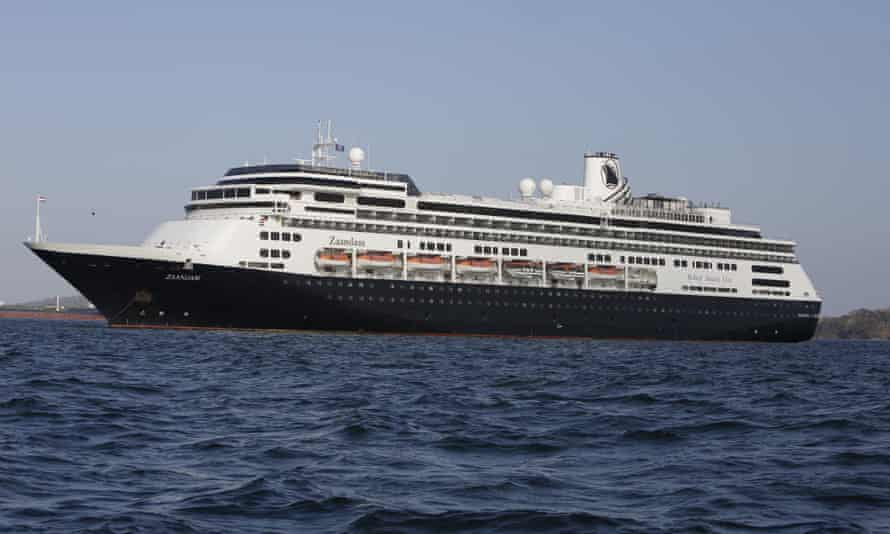 The Zandaam cruise ship, anchored off Panama City