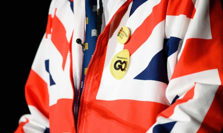 Conservative MP Philip Hollobone shows off his union jack jacket at the launch of Grassroots Out.