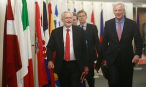 Michel Barnier and Jeremy Corbyn meeting in July 2017.