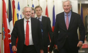 Corbyn and Barnier before a meeting in Brussels in July 2017.