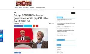 A screengrab of the fake Corbyn story on the YourBrexit website