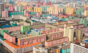 High rise apartment buildings, seen from the Juche tower in central Pyongyang.