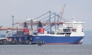 A ferry in Belfast port