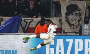 Maxwel Cornet of Olympique Lyonnais hits the post.